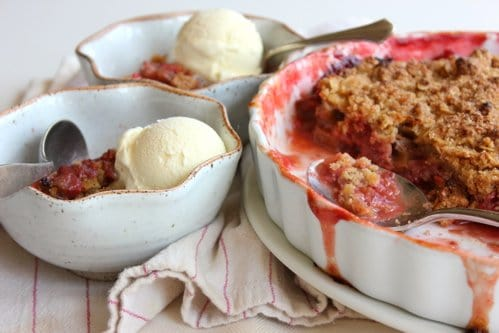 bowls of gluten free rhubarb crumble