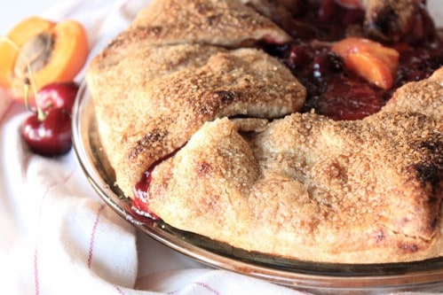 cherry apricot fold over pie in a dish