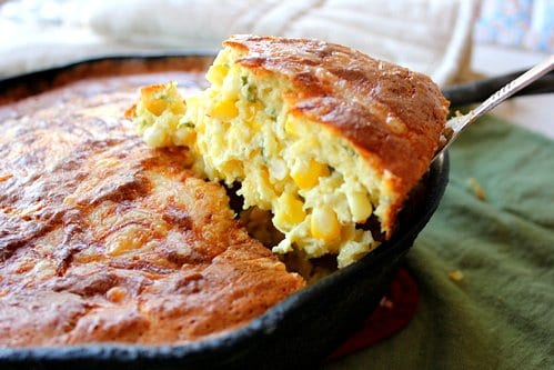 spoonbread in a skillet