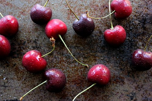 cherries on a table top
