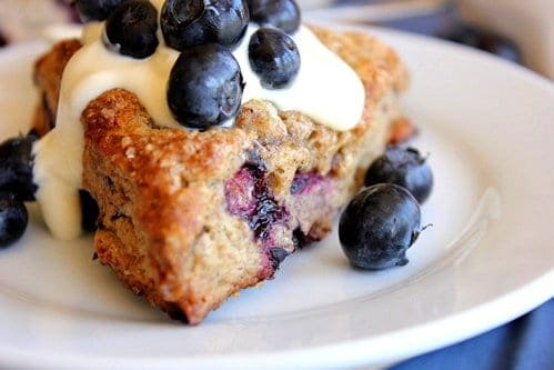 close up of blueberry scone