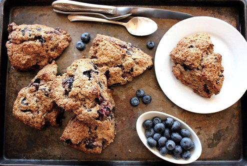 top down shot of blueberry buckwheat scones