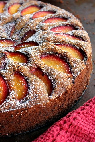 plum cake on a table