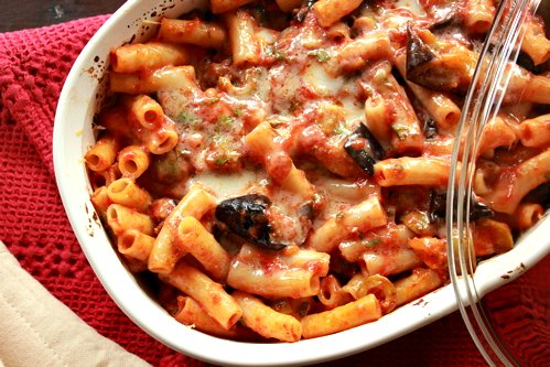 baking dish with baked penne