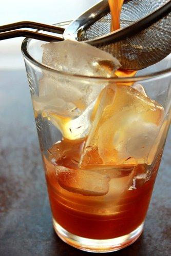 cocktail through a sieve