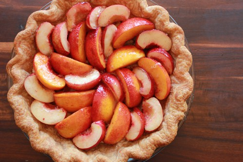 nectarine topping on pie