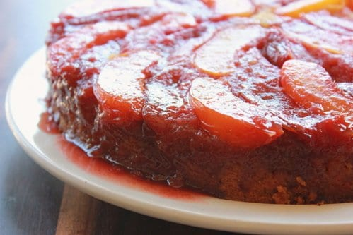 side shot of nectarine plum upside down cake