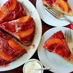 top down shot of nectarine plum upside down cake