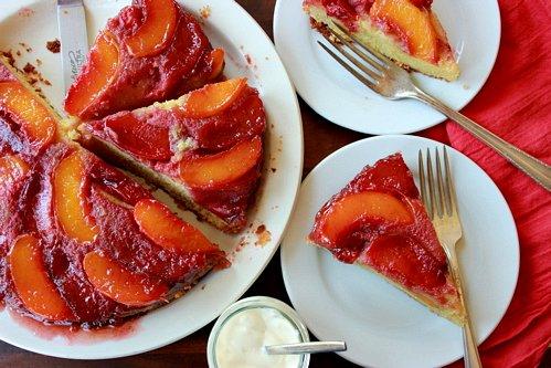 overhead shot of nectarine plum upside down cake