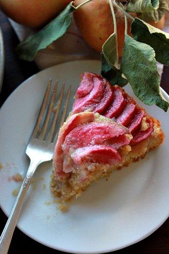slice of Super-Moist Pink Pearl Apple Cake