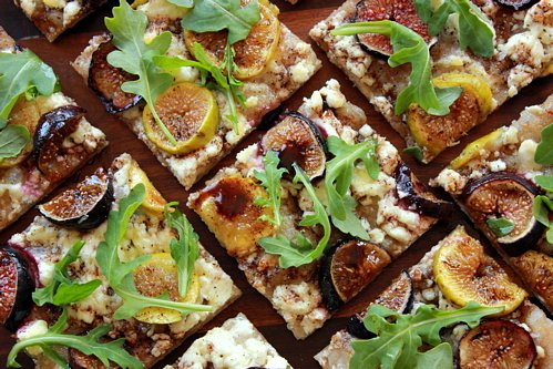 sliced fig flatbread on a table