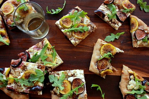 slices of fig flatbread on a table