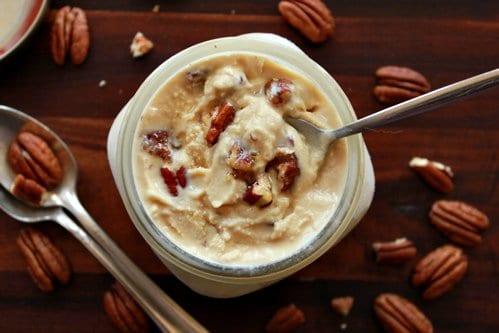 maple bourbon pecan ice cream in a jar