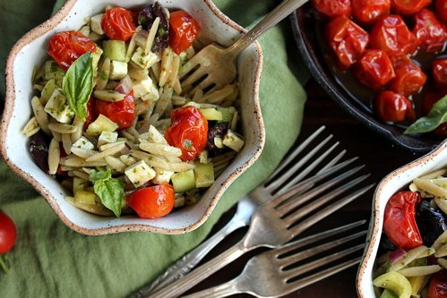 Orzo Pasta Salad with Roasted Cherry Tomatoes in bowls