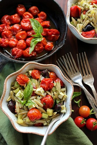 top down shot Orzo Pasta Salad with Roasted Cherry Tomatoes