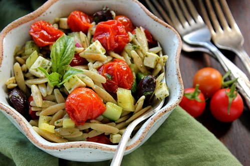 Orzo Pasta Salad with Roasted Cherry Tomatoes