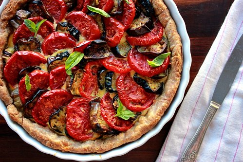 top down shot of tomato tart