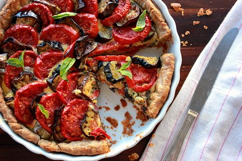 overhead shot of roasted eggplant tomato tart