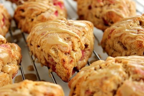 maple glazed bacon apple scones in a wire rack