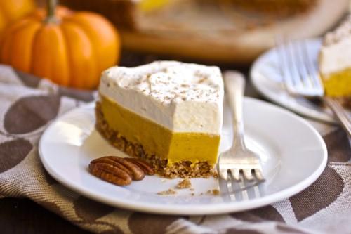 slice of gluten free creamy pumpkin tart