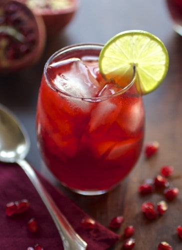 pomegranate margarita in a glass