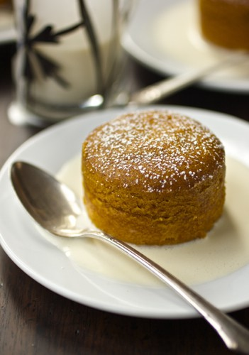 close up of pumpkin pudding cake