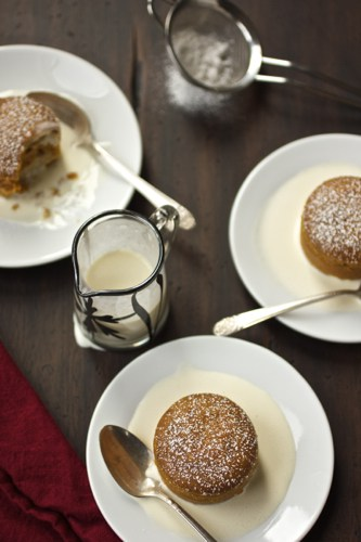 pumpkin pudding cakes on a table
