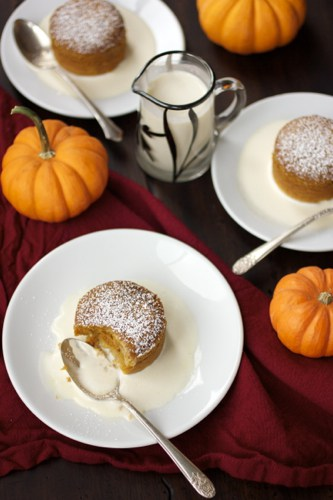 pumpkin pudding cakes on plates