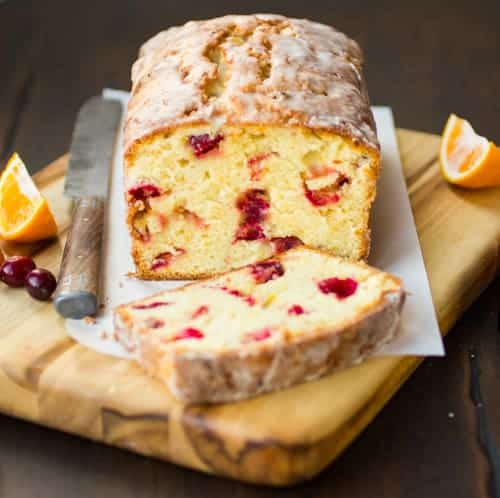 slice of cranberry tea cake