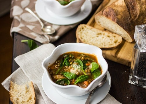 french lentil and spinach soup with bread