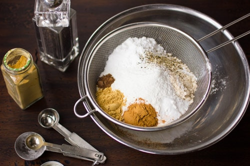 dry ingredients in a sieve