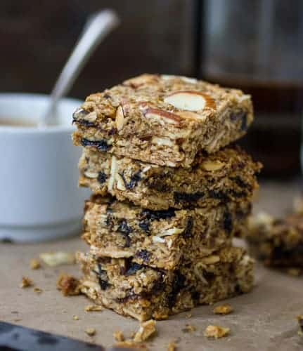 stack of dairy free and gluten free breakfast bars
