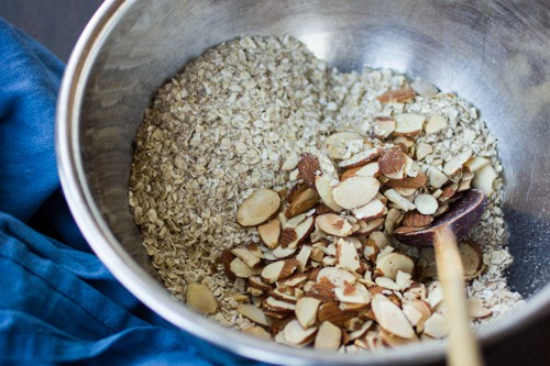 nuts and oats in a bowl