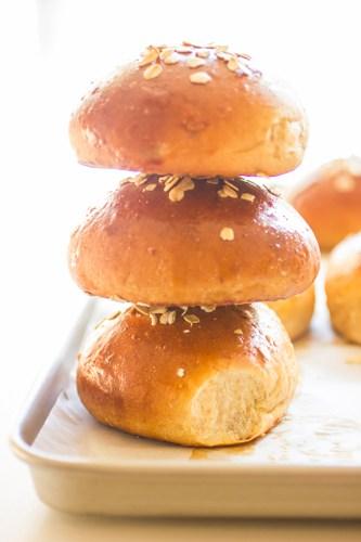 stack of honey oat beer buns