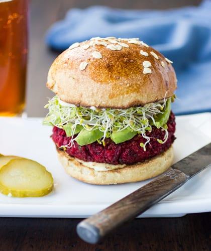 burger with honey oat beer bun