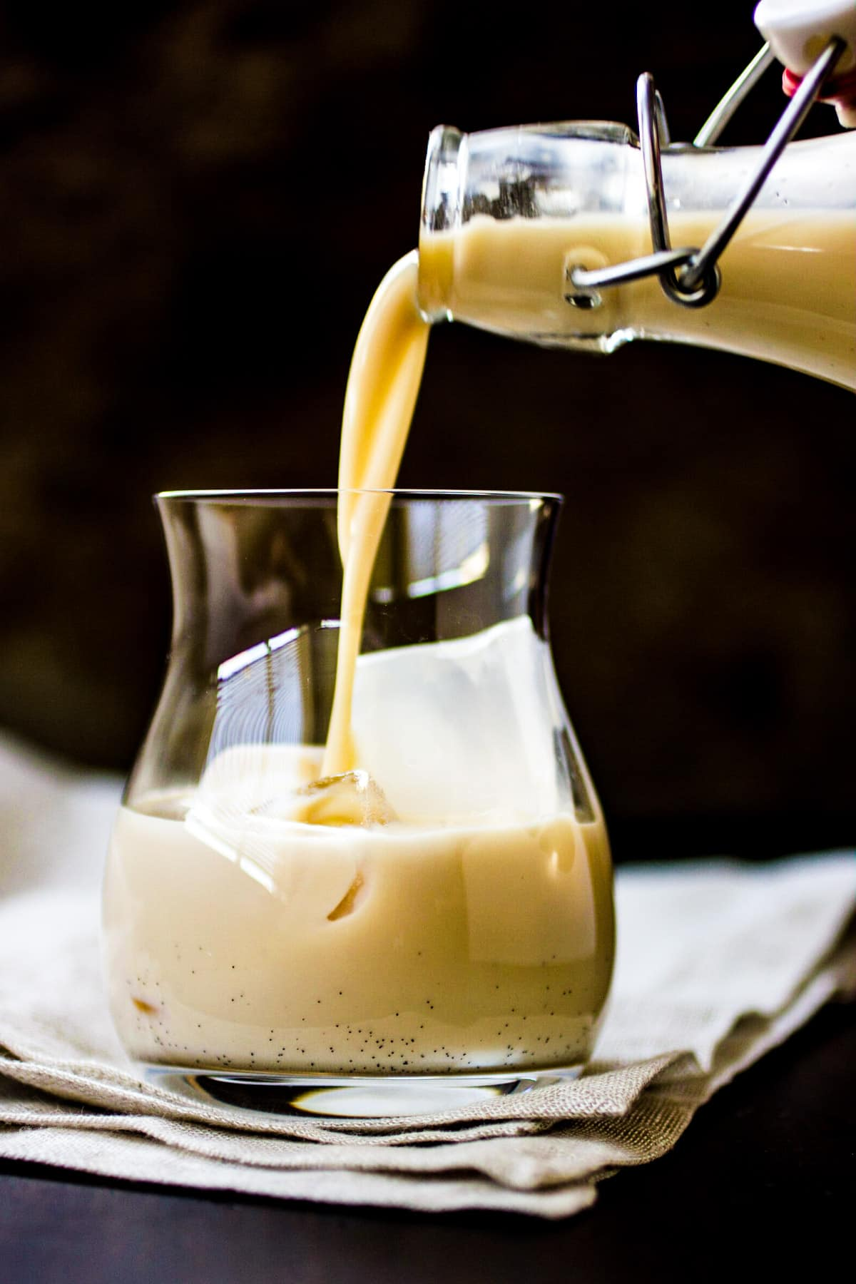 Homemade Irish Cream Liqueur being poured