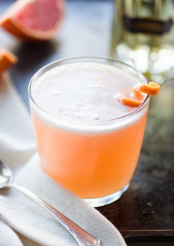 close up of grapefruit cocktail