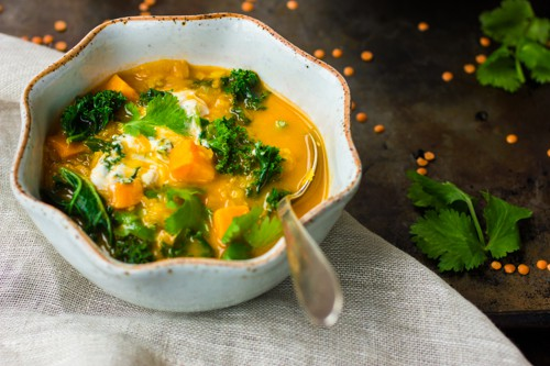 red lentil kale sweet potato soup
