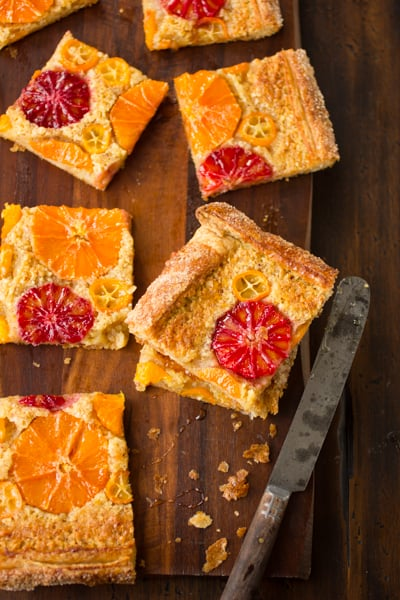 slices of rustic citrus almond tart