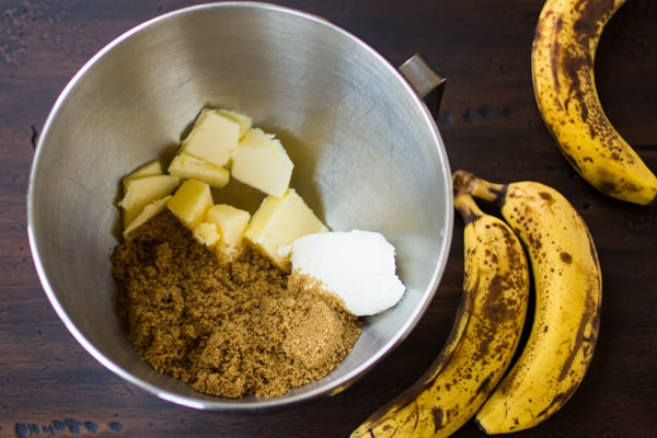 butter in a bowl for gluten free banana muffins recipe