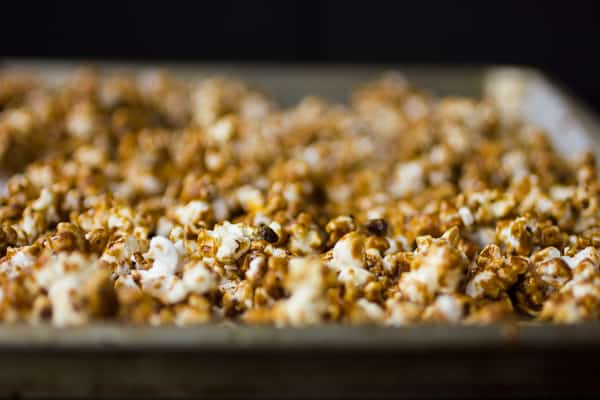 close up of caramel corn