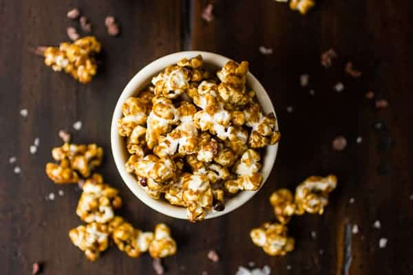 caramel corn in a cup