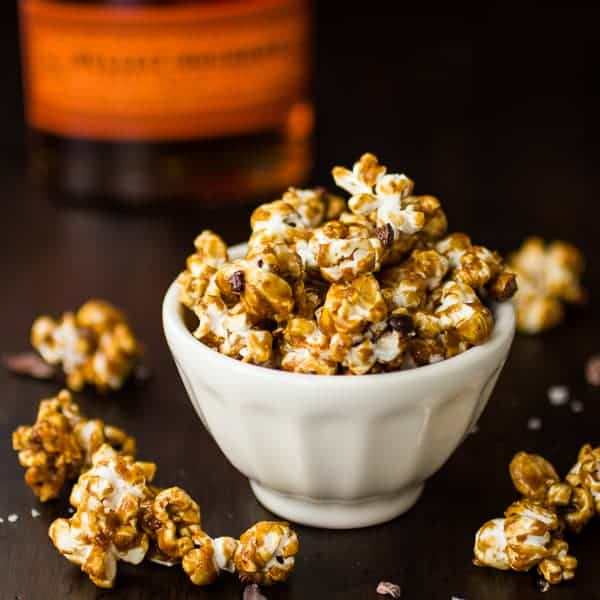 caramel corn in a bowl