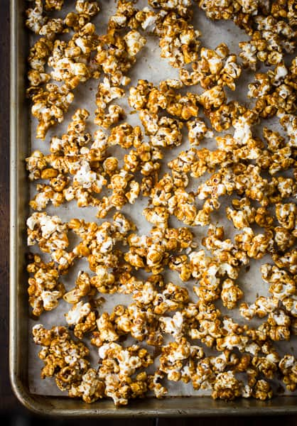 caramel corn on a baking tray