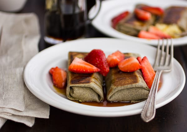 close up of buckwheat cheese blintzes