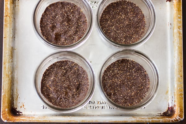 top down shot of chocolate pots