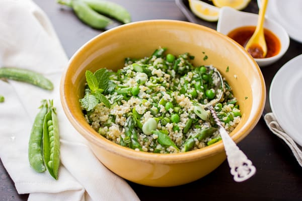 bowl of tabbouleh and spoon