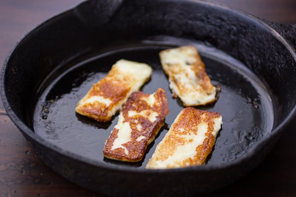 halloumi cooking in a pan