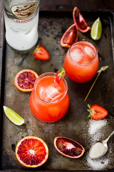 Strawberry Blood Orange Rum Punch in glasses