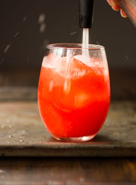 mixer added to rum punch